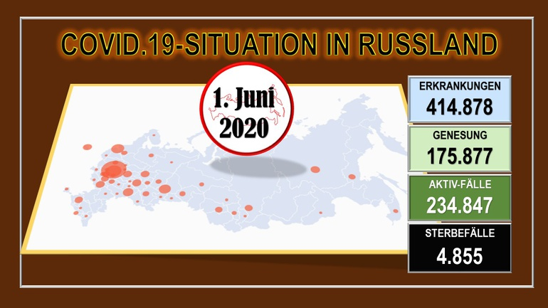 Corona-Virus-Situation in den Regionen der Russischen Föderation Stand 1. Juni 2020